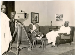 Alhaji Ahmadu Bello (Sardauna of Sokoto and the premier of Northern Nigeria) being interviewed on TV prior to his departure on pilgrimage to Mecca.