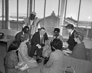 Nigerian Independence Meeting 1960 Andrew Gilchrist, British Consul General and Nigerian students Ola Idawu and Charles Okpala hold a Jr. press conference with Chicago Highschool newspaper editors just days before Nigeria's Independence September 28, 1960