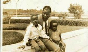 Ojukwu and two of his kids in Ivory Coast